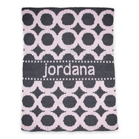 Butterscotch Blankees Circles Stroller Blanket in Pale Pink/Charcoal