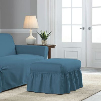 Perfect Fit Relaxed Fit Cotton Duck Ruffle Ottoman Slipcover in Indigo