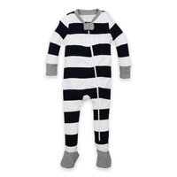 Burt's Bees Baby® Size 24M Rugby Stripe Organic Cotton Footed Pajama in Navy