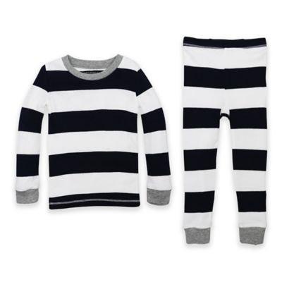 Burt's Bees Baby® Size 12M 2-Piece Rugby Stripe Organic Cotton Pajama Set in Navy