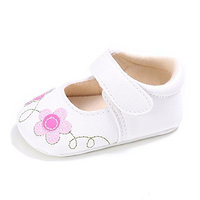 ESTAMICO Newborn Baby Girls Mary Jane Ballerina Crib Shoes [Navy/Flower, 0-6 Months]