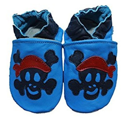 Soft leather baby shoes for Boys and Girls by Shoozies - Jolly Roger Pirate [0-6 months]
