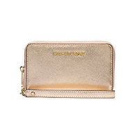 Michael Kors Wallet: Jet Set Travel Metallic Leather Continental Wallet in Pale Gold