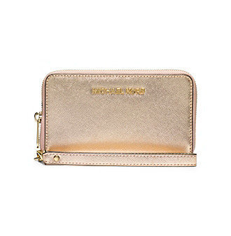 a4c360b01f395b Michael Kors Wallet: Jet Set Travel Metallic Leather Continental Wallet in Pale  Gold Reviews 2019