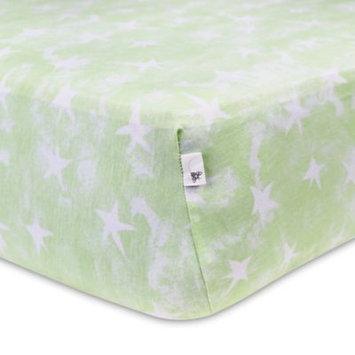 Burt`s Bees Burt's Bees Baby Organic Watercolor Stars Fitted Crib Sheet, Green One Size