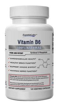 Superior Labs 1 Vitamin B6 - Powerful 50mg, 120 Vegetable Caps
