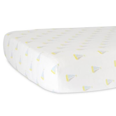 Hello Spud Organic Cotton JerseySailboats Fitted Crib Sheet in Blue/Yellow