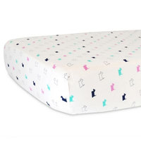 Hello Spud Organic Cotton Jersey Scottie Polka Dot Fitted Crib Sheet in Pink