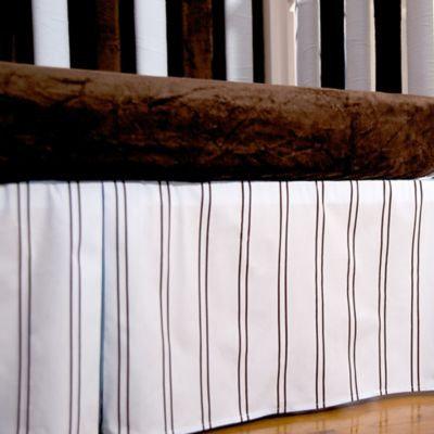 Go Mama Go Designs® Striped Crib Skirt in Blue/Chocolate
