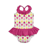 i play.® Size 24M 1-Piece Tulip Print Ruffle Swimsuit with Built-In Swim Diaper in White