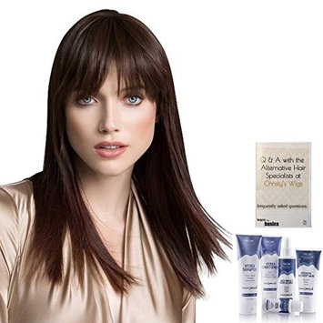 Bundle - 7 items: True Human Hair Blend Hairpiece by Ellen Wille, Christy's Wigs Q & A Booklet, BeautiMark Hydra Shampoo Conditioner Mask Protect Leave-In Spray Shine Serum - Color: chocolate mix