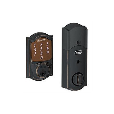 Electronic Knobs: Schlage Deadbolts Sense Aged Bronze Camelot Trim Smart Deadbolt BE479AA V CAM 716