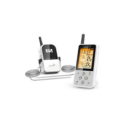 Ivation Extended Range Wireless Cooking Thermometer - Dual Probe - Remote BBQ, Smoker, Grill, Oven, Meat Thermometer - Monitor Food Up To 325' Away (White)