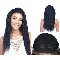 Synthetic Braided Lace Front Wig (African American Braid Wigs) Black Color (22 inch)