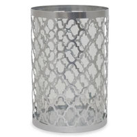 10.5-Inch Quatrefoil Candle Holder in Silver