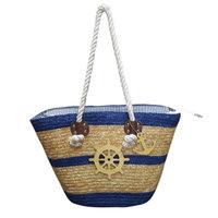 Captain's Wheel Straw Tote Bag in Tan/Navy