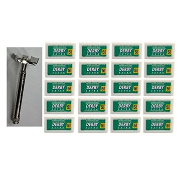 Double Edge Safety Razor + Derby Extra Double Edge Blades, 5 ct. (Pack of 20) + FREE Schick Slim Twin ST for Dry Skin