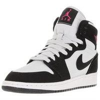Nike Girls' Grade School Air Jordan Retro 1 High (3.5y-9.5y) Basketball Shoes, Girl's, Black/Grey