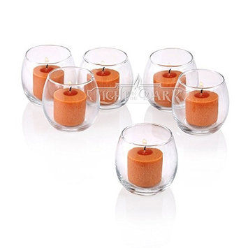Light In The Dark Clear Glass Hurricane Votive Candle Holders with Orange Votive Candles (Set of 36)