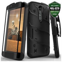 LG K7 / LG Tribute 5 LS675 / LG Escape 3 Case, Zizo® Bolt Cover with FREE [.33m 9H Tempered Glass Screen Protector] Included [Military Grade] Clip