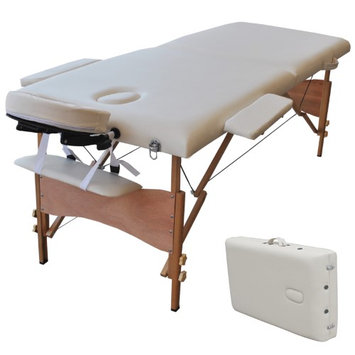 Costway New 84L Portable Massage Table Facial SPA Bed Tattoo w/Free Carry Case White