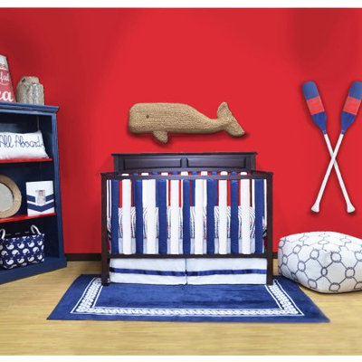 Go Mama Go Designs Doctor-Approved Vertical Wonder Bumpers, Navy & White Reversible Cotton, 24pk