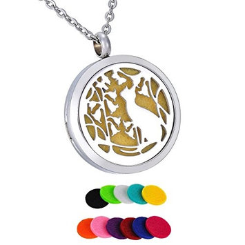 12 Pads Round Cat Garden Aromatherapy Perfume Essential Oil Diffuser Pendant Necklace