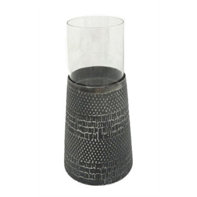 Benzara Antique Black Metal And Glass Candle Holder
