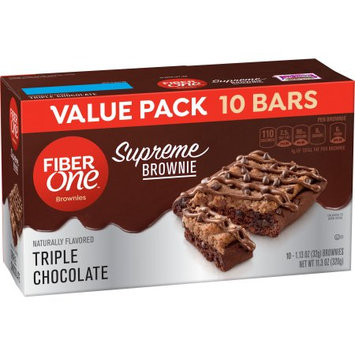 General Mills Fiber One Supreme Brownie Triple Chocolate Value Pack 10 Count 1.13 oz Bars