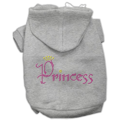 Mirage Pet Products 5467 LGGY Princess Rhinestone Hoodies Grey L 14