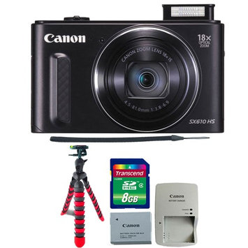 Canon PowerShot SX610 HS 20.2MP 18x Optical Zoom Wifi Digital Camera with Tripod & 8GB Memory Card Black
