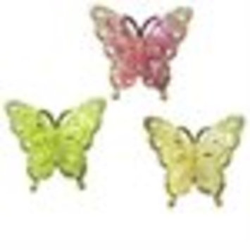 Set of 3 Colorful Glittered Butterfly Christmas Ornament Clips