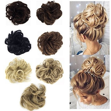 FUT Ladies Synthetic Wavy Curly or Messy Dish Hair Bun Extension Hairpiece Scrunchie Chignon Tray Ponytail 7 Color Each pack