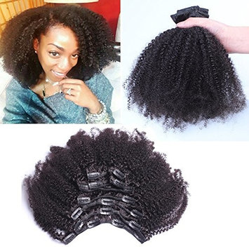 Afro Kinky Curly Human Hair Clip in Extensions 4B 4C Clip In Human Hair Extensions for Black Women 14
