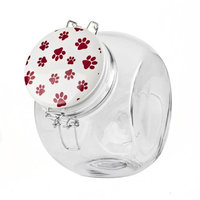 Blue Harbor Slant Treat Jar with Red and White Paw Print Lid