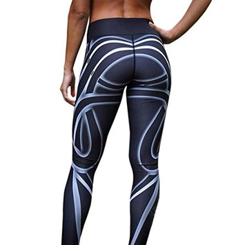 Women Line Printed Sports Gym Yoga Pant Mid Waist Workout Running Athletic Pants Fitness Trousers