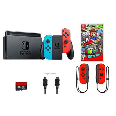 Nintendo Switch 5 items Bundle: Nintendo Switch 32GB Console Red/blue Joy-con,128GB Micro SD Card, Nintendo Joy-Con (L/R) Wireless Controllers Neon Red, Super Mario Odyssey, and Mytrix HDMI Cable