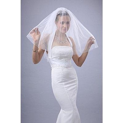 2T White Elbow Plain Cut Edge Wedding Bridal Veil