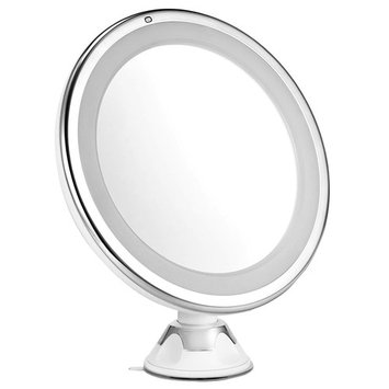 Oak Leaf 7X Magnifying Makeup Mirror, LED Lighted Vanity Mirror, Battery Operated, Suction Cup Base & 360 Degree Swivel