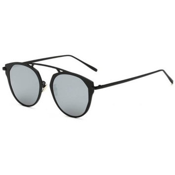 OWL Eyewear Sunglasses 86046 C2 Women's Metal Round Fashion Black Frame Silver Mirror Lens