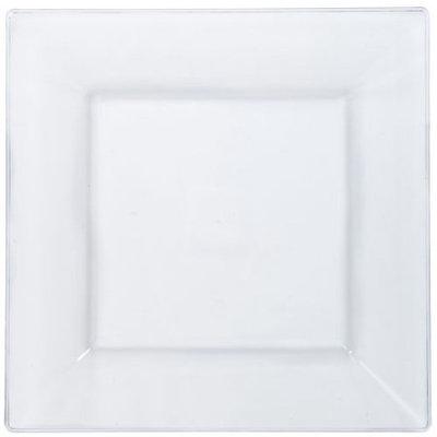 Lillian Plastic Dinnerware, Square Plastic Plate, Clear, 10 3/4', 10 Ct