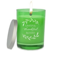 Carved Solutions Gem Collection Unscented Thankful Grateful Soy Wax Candle in Emerald