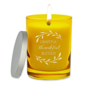 Carved Solutions Gem Collection Unscented Thankful Grateful Soy Wax Candle in Citrine