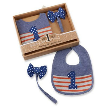 Baby Aspen Blue My First Birthday Bow Tie Pacifier Clip & Bib - Infant