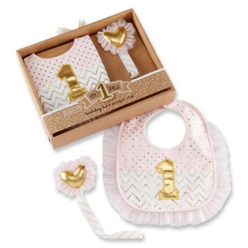 Baby Aspen Pink & Gold My First Birthday Pacifier Clip & Bib - Infant