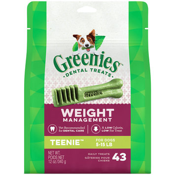 Greenies Weight Management Dental Chews Teenie All Stages Dog Treats, 43 Ct