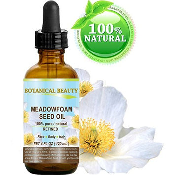MEADOWFOAM SEED OIL 100% Pure / Natural / Refined / Undiluted for Face, Body, Hair and Nail Care. 4 Fl.oz.- 120 ml.