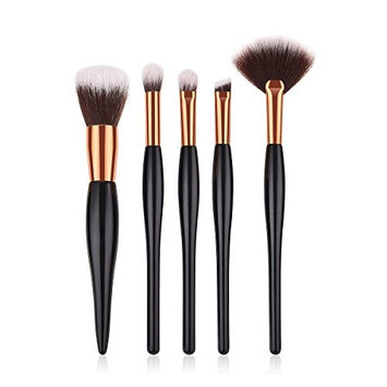 Makeup Brushes Set 5 Pieces Premium Synthetic Hair Powder Foundation Mini Fan Eyebrow Blending Brushes for Women Face and Eye Cosmetics