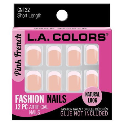 LA Colors Fashion Nail Tips, Short Length, Pink French, 12 Ct