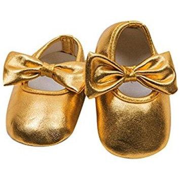 Koly Toddler kids Baby Prewalker Soft Sole Anti-Slip bowknot Shoes (6~12 M, G